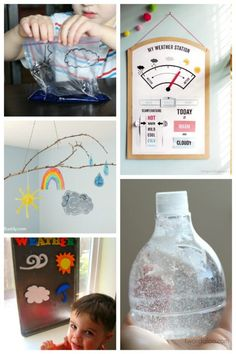 It is so fun to learn about the weather! These 25 fun weather activities and crafts will help explain weather patterns to kids in a hands-on way. Weather Activities, Science Activities For Kids, Kindergarten Activities, Science Projects, Nature Activities, Preschool Activities, Electronics Projects, Tornado In A Jar, Weather Cards