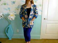 80's Floral Blazer // Blue and Pink Roses by LexAndLos on Etsy, $25.00