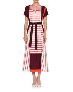 Striped+Short-Sleeve+Midi+Dress,+Fuchsia/Maroon+by+Piazza+Sempione+at+Neiman+Marcus.