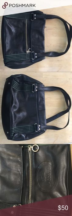 Lacoste black leather shoulder bag Black leather with hunter green accents. Good condition of leather, minor stains in lining as in pictures. Lacoste Bags Shoulder Bags