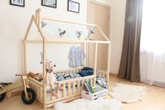 Bed house is an amazing floor bed for children to can sleep and play. This adorable house bed will make transitioning from a crib to a toddler bed smoothly. Frame bed is designed following Montessori furniture principles of independence – building, it saves you a lot of space in baby's room and you do not have to fear that your baby might roll out of the Montessori bed. MATERIAL: Wooden house bed is made from pine or birch wood (choose when ordering) and covered with biological bee wax, but…