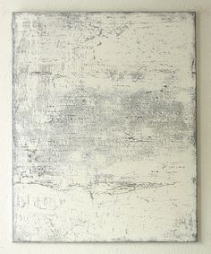 Christian Hetzel Bild 1404 white grey brown painting 100 x 80 cm mixed media mud paper on canvas 2014