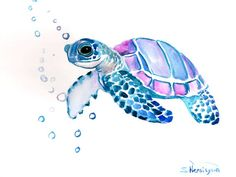 Sea Turtle, Original watercolor painting, 9 X 12 in, sea animal art, sea animals, watercolro animals, blue light purple painting