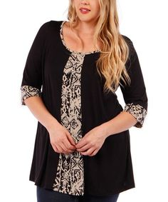Great upcycle idea for a shirt refashion that's too small. Black & Taupe Abstract-Panel Scoop Neck Tunic - Plus