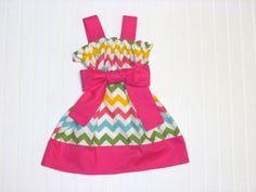 Easter chevron dress. Pastel chevron spring dress for girls sizes 6 months-4.. $35.00, via Etsy.