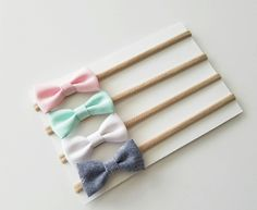 Baby Headbands | Small Bows | Baby Bows | Nylon Headbands | Baby Headband Set | Pink, Mint, White & Denim itty bitty bows by KatesBowsShop on Etsy https://www.etsy.com/listing/291382733/baby-headbands-small-bows-baby-bows