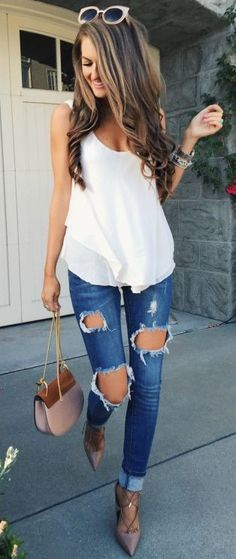 #summer #feminine #outfitideas   White Double Layer Tank + Ripped Denim