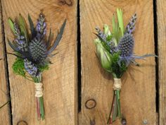 Sea Holly boutonniere for the Scottish Groom! Thistle Boutonniere, Thistle Bouquet, Lavender Boutonniere, Boutonnieres, Groom Boutonniere, Purple Wedding, Floral Wedding, Wedding Bouquets, Wedding Flowers