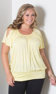 c8bd8d686ef88 Renee Cold Shoulder Top - Yellow at Curvalicious Clothes  curvy   fullfigured  plussize