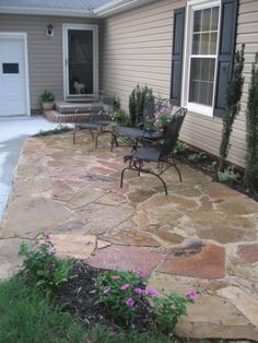 outdoor small backyard landscaping ideas with installing flagstone