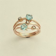 Rose gold ring with aqua marine stones and small by artisanimpact, $752.00