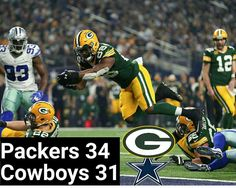 Ty Montgomery of the Green Bay Packers dives into the end zone to score a touchdown during the second quarter against the Dallas Cowboys in the NFC Divisional Playoff game at AT Green Bay Packers, Dallas Cowboys, Golf Clubs, Nfl, Two By Two, Football, Seasons, Baseball Cards, Bye Bye