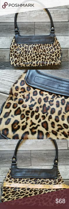 ADRIENNE VITTADINI leopard print bag Vintage inspired leopard print structured calf hair with leather trim handbag. Snap closure. Great condition Adrienne Vittadini Bags