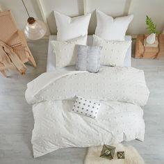 Brooklyn Shabby Chic 5 Piece Cotton Jacquard Comforter Set – English Elm Twin Xl Comforter, King Comforter, Queen Duvet, Brooklyn, Cute Bedding, Gray Bedding, Neutral Bedding, Bedroom Neutral, Bedroom Simple
