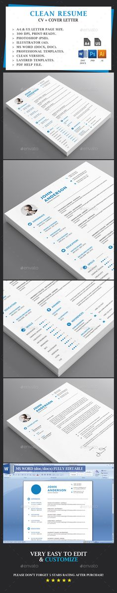 clean resume the perfect way to make the best impression strong typographic structure and very easy to use and custo