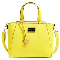 CXL by Christian Lacroix 'Limoges' Faux Leather Satchel ($98) ❤ liked on Polyvore featuring bags, handbags, electric yellow, yellow purse, vegan leather purse, structured satchel, structured satchel handbag and satchel handbags