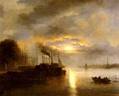 Nicolaas Johannes Roosenboom (1805-1880) - Vessels before a Harbour town by Moonlight