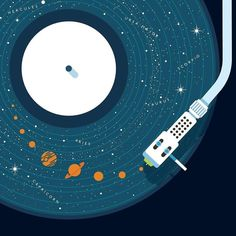 Stunning illustration work by  @petergreenwooduk for White Label  #poster #vinyl #record #player #solar #system #advertising #advert #cintiq #ad #illustrator #illustration #graphic #graphicdesign #planet #saturn #stars #needle #recordplayer #music #track #art #artist #artwork #artoftheday