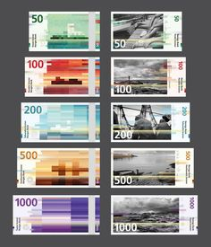 The new Norwegian Krone banknotes.