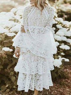 Lace Flared Sleeves Tiered Falbala White Midi Dress  style  bohemiastyle   design  beautiful 2fa4d424ba7