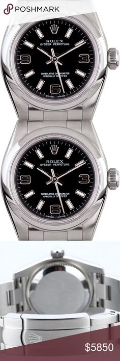Ladies Rolex Wristwatch * Stainless steel with smooth bezel and black face * Automatic 2231 movement * Scratch-resistant sapphire crystal * Waterproof screw-down crown * 26mm  Pre-loved and in excellent condition Rolex Accessories Watches