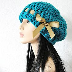 Turquoise Beret Hand Crocheted Slouchy Hat with Golden Tan Grosgrin Ribbon = cute idea