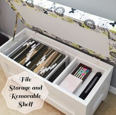 The main purpose for building a storage bench was to make a place to hide our files and get them off the floor. Last week I shared plans to build the bench, and this week I'm sharing how I added features to the inside of the bench to use the storage space. This post contains […]