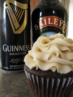 Guinness and Baileys Irish Cream Cupcakes - bakedbyrachel.com    You know, I'm not sure how they will taste but I'm willing to give it a try since it has 3 of my favs...Bailey's, Guinness and chocolate!!!!!