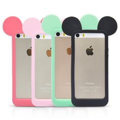 Hot sale!3D Mickey mouse ears silicon frame bumper for iPhone 4 4S 5 5S 6 6S case soft Rubber lovely cartoon phone cases cover-in Phone Bags & Cases from Phones & Telecommunications on Aliexpress.com | Alibaba Group