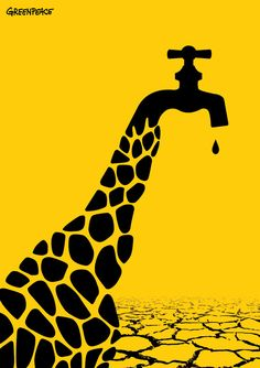 A thirsty giraffe starving for water. Man-made climate change has struck again. Design Poster, Art Design, Creative Design, Illustration Design Graphique, Illustration Art, Art Environnemental, Artist Art, Creative Posters, Creative Advertising