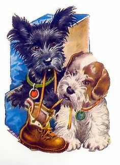Vintage Weihnachten Scottie Hunde