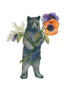 Bear with Pansies watercolor print - Bear Art Bear Watercolor, Watercolor Animals, Watercolor Paper, Watercolor Paintings, Bear Paintings, Original Paintings, Art D'ours, Mother Bears, Bear Art