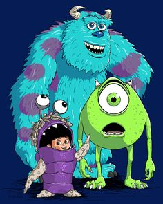 Monsters Inc. Sulley, Mike Wazowski and Boo Monsters Inc Characters, Sully Monsters Inc, Monsters Ink, Disney Monsters, Kawaii Disney, Cute Disney, Disney Art, Pixar Movies, Kid Movies