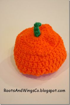 Why carve a pumpkin when you can crochet one! (Roots and Wings Co.)