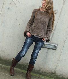 Angora marrón mezcla suéter / último cómodo suéter en por ileaiye