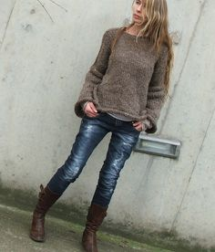 the Ultimate Winter/Fall Outfit...Soft Comfy Brown sweater, HOT jeans & boots!!! I would add a thin long gold chain for the evening.  Ltd edition by ileaiye,