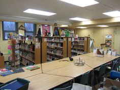 Collaboration tables and non-fiction resources side by each.