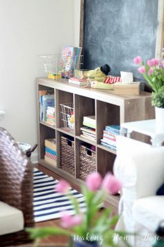 Living Room Organization kids room organization for books/toys - fab idea for keeping some