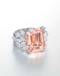 Harry Winston 12.93ct orangy-pink diamond ring (estimate: US$1.6-2.5 million).