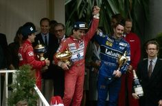 Senna with Nigel Mansell on the 1992 Monaco podium