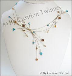 turquoise marron collier en cristal swarovski de par creationtwinne, $58.00