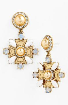 Absolute elegance. In awe of these Tory Burch 'Selma' drop earrings. The mix of gold, faux pearl and crystal is simply exquisite.