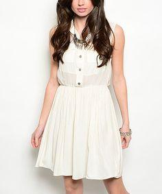 Look what I found on #zulily! White Pocket Sleeveless Dress #zulilyfinds
