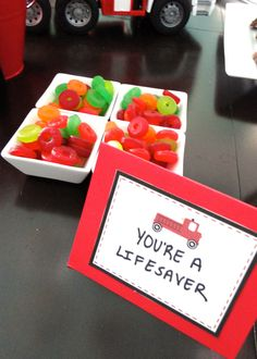 "firetruck party theme food ideas ""you're a life saver"" using...duh..lifesavers ;)"