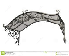 architectural detail for glass and iron canopy   Wrought iron canopy isolated on white background.