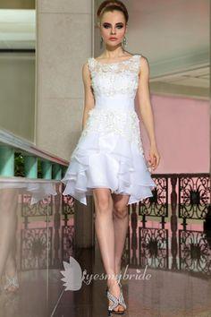 white boat neck sleeveless lace bodice short a-line cascade skirt formal dress