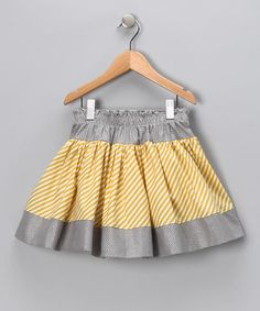 Take a look at this Gold Diagonal Stripe Twirly Skirt - Infant, Toddler & Girls by Squeaks & Beeps on #zulily today!