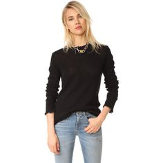R13 Distressed Edge Cashmere Sweater (2.335 BRL) ❤ liked on Polyvore featuring tops, sweaters, black, loose long sleeve tops, pure cashmere sweaters, long sleeve tops, crew-neck sweaters and j.crew cashmere sweaters