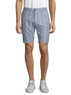 Civil Society Striped Linen & Cotton Blend Shorts In Indigo Striped Shorts, Denim Shorts, Civil Society, Striped Linen, Civilization, Indigo, Mens Fashion, Casual, Cotton