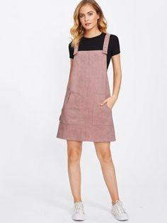 Модное замшевое платье-сарафан с карманами